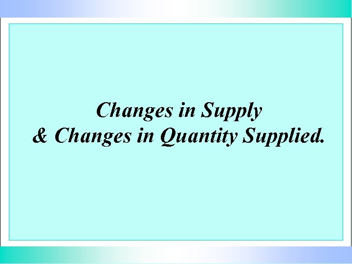 Changes in Supply & Changes in Quantity Supplied.