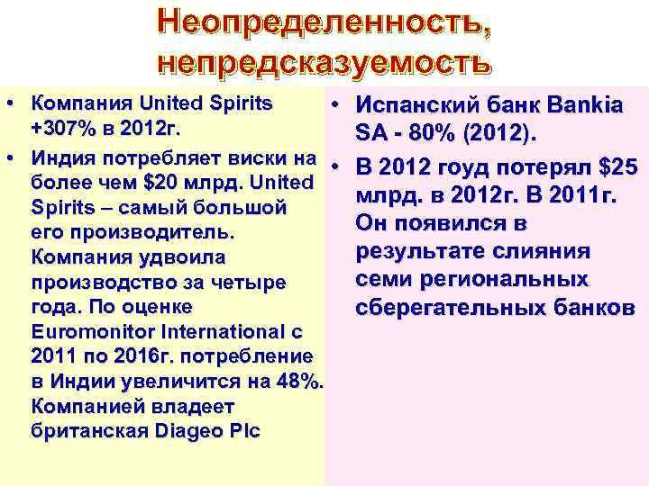 Неопределенность, непредсказуемость • Компания United Spirits • +307% в 2012 г. • Индия потребляет