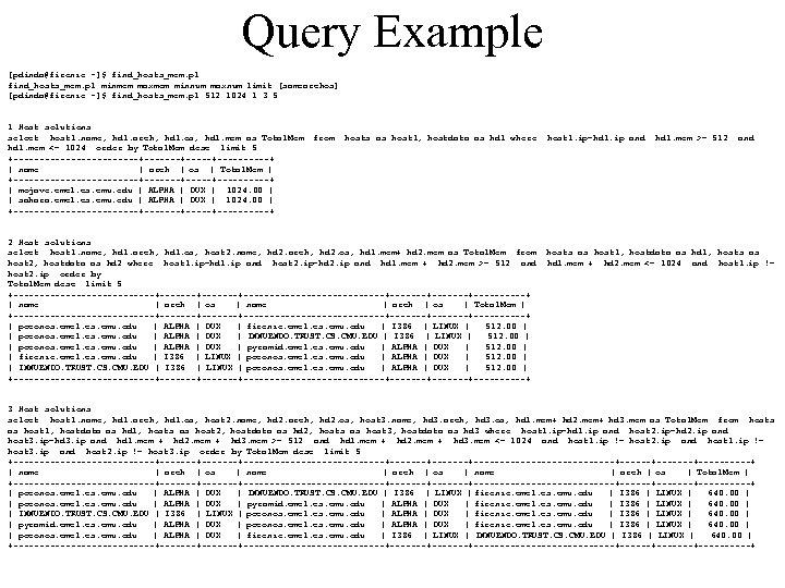 Query Example [pdinda@firenze ~]$ find_hosts_mem. pl minmem maxmem minnum maxnum limit [samearchos] [pdinda@firenze ~]$