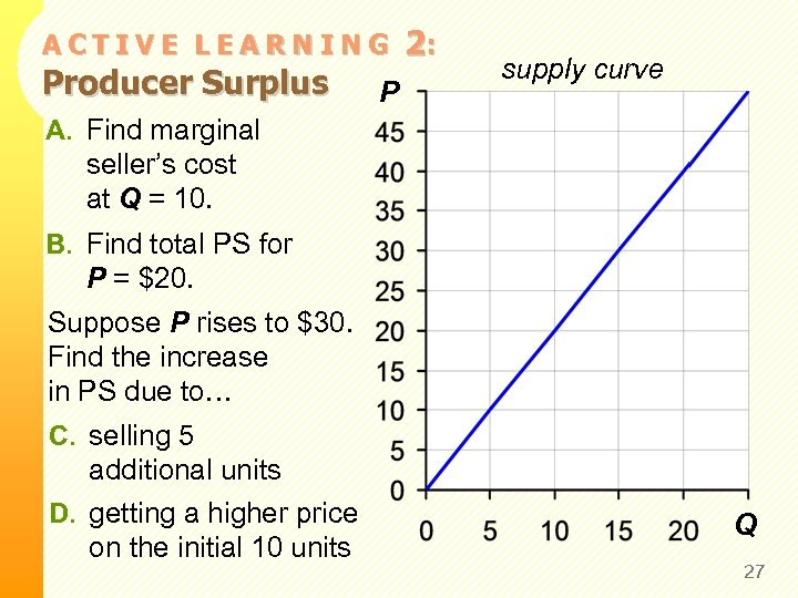 ACTIVE LEARNING Producer Surplus P 2: supply curve A. Find marginal seller's cost at