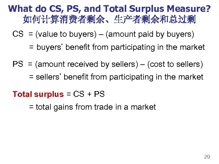What do CS, PS, and Total Surplus Measure? 如何计算消费者剩余、生产者剩余和总过剩 CS = (value to buyers)