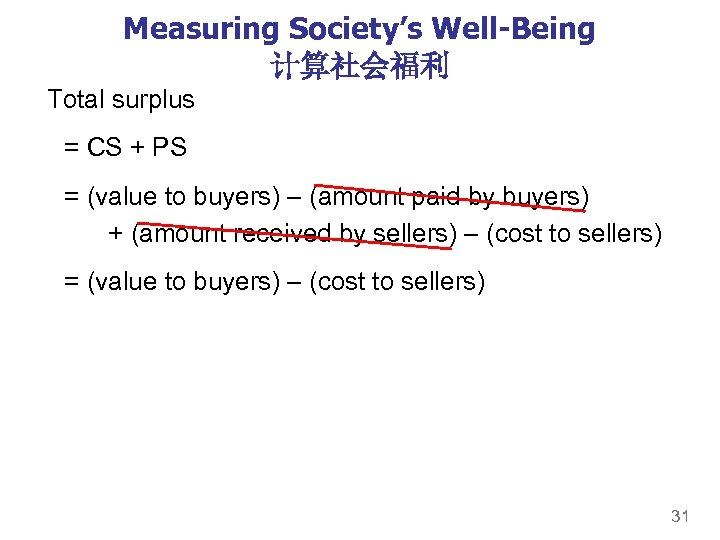 Measuring Society's Well-Being 计算社会福利 Total surplus = CS + PS = (value to buyers)