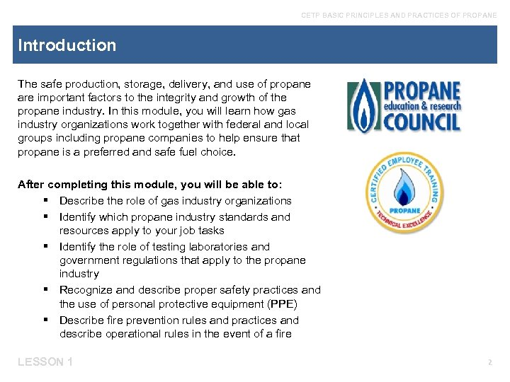 Cetp Basic Principles And Practices Of Propane Module