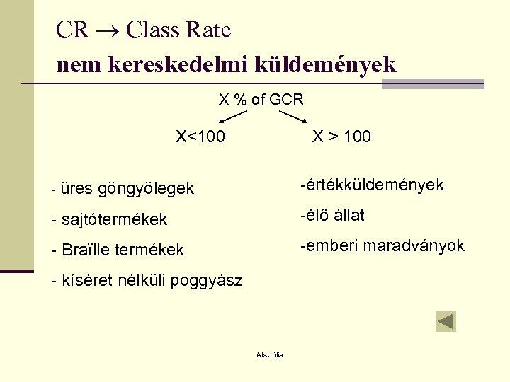 CR Class Rate nem kereskedelmi küldemények X % of GCR X<100 - üres X