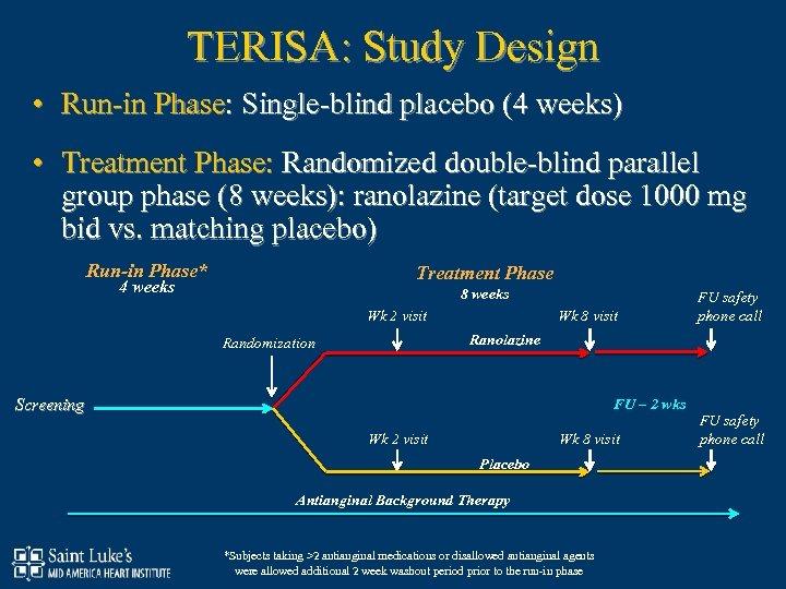 TERISA: Study Design • Run-in Phase: Single-blind placebo (4 weeks) • Treatment Phase: Randomized