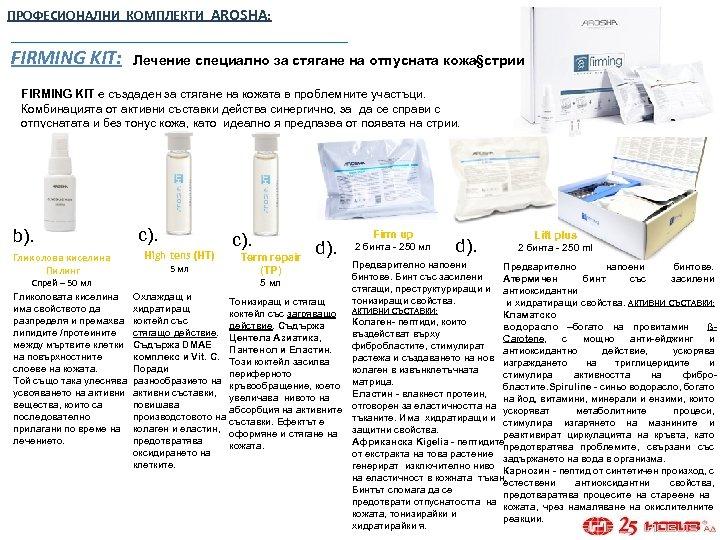 ПРОФЕСИОНАЛНИ КОМПЛЕКТИ AROSHA: FIRMING KIT: Лечение специално за стягане на отпусната кожа§стрии FIRMING KIT