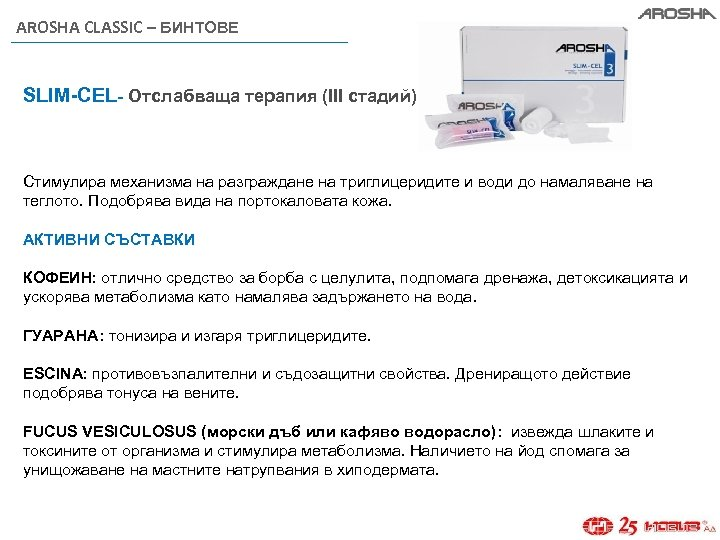 AROSHA CLASSIC – БИНТОВЕ SLIM-CEL- Отслабваща терапия (III стадий) Стимулира механизма на разграждане на