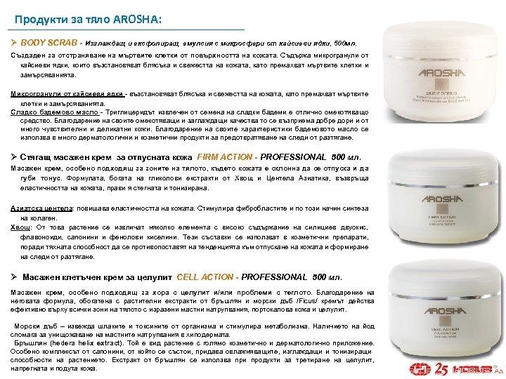 Продукти за тяло AROSHA: Ø BODY SCRAB - Изглаждащ и ексфолиращ емулсия с микросфери