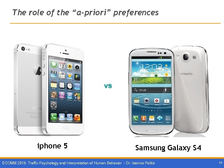 "The role of the ""a-priori"" preferences vs iphone 5 Samsung Galaxy S 4 ECOMM"