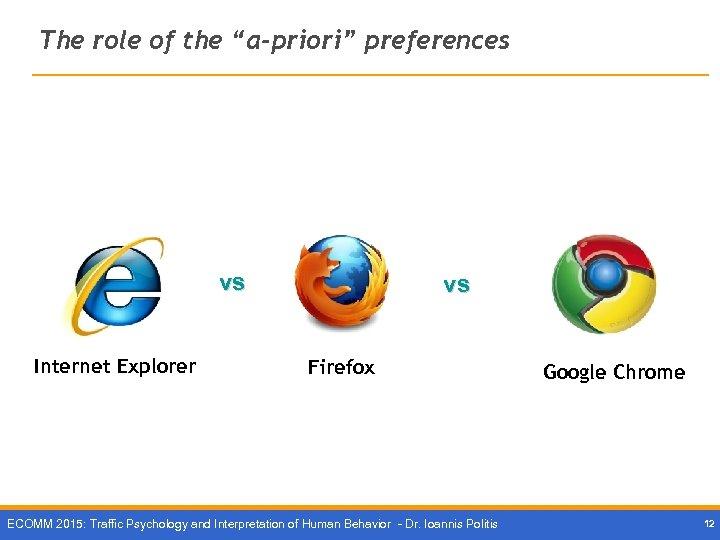 "The role of the ""a-priori"" preferences vs Internet Explorer vs Firefox ECOMM 2015: Traffic"