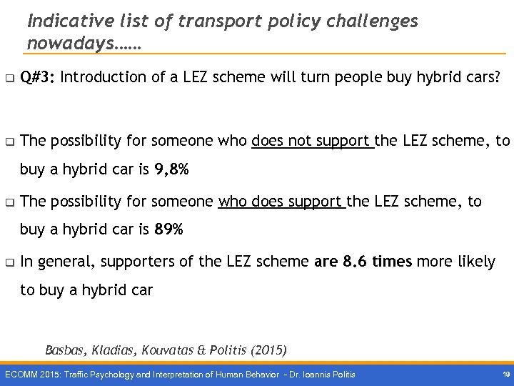 Indicative list of transport policy challenges nowadays…… q Q#3: Introduction of a LEZ scheme