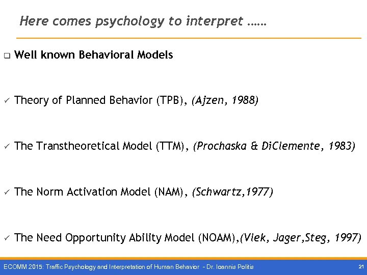 Here comes psychology to interpret …… q Well known Behavioral Models ü Theory of