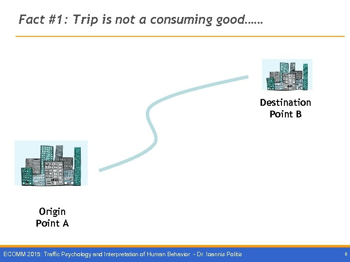 Fact #1: Trip is not a consuming good…… Destination Point B Origin Point Α