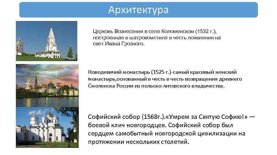 Архитектура Церковь Вознесения в селе Коломенском (1532 г. ), построенная в шатровомстиле в честь