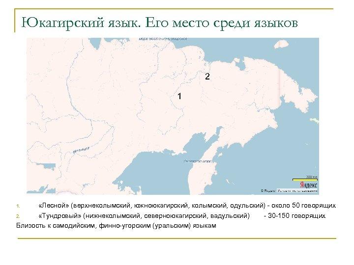 Юкагирский язык. Его место среди языков 2 1 «Лесной» (верхнеколымский, южноюкагирский, колымский, одульский) -