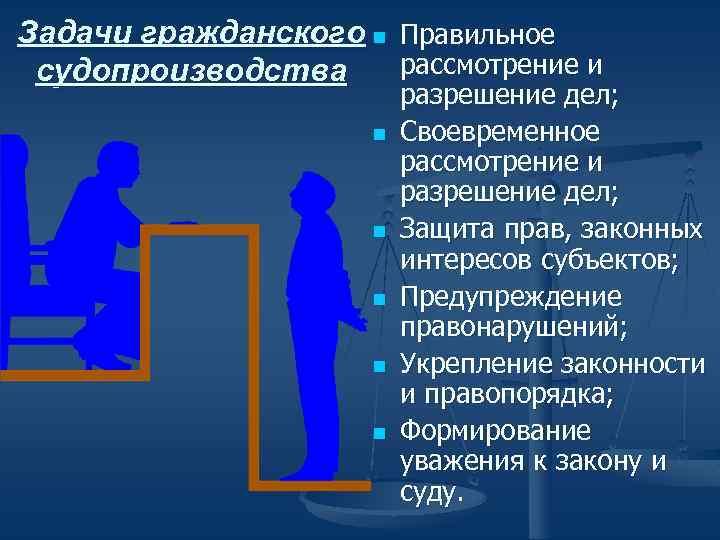 Задачи гражданского n Правильное рассмотрение и судопроизводства n n n разрешение дел; Своевременное рассмотрение