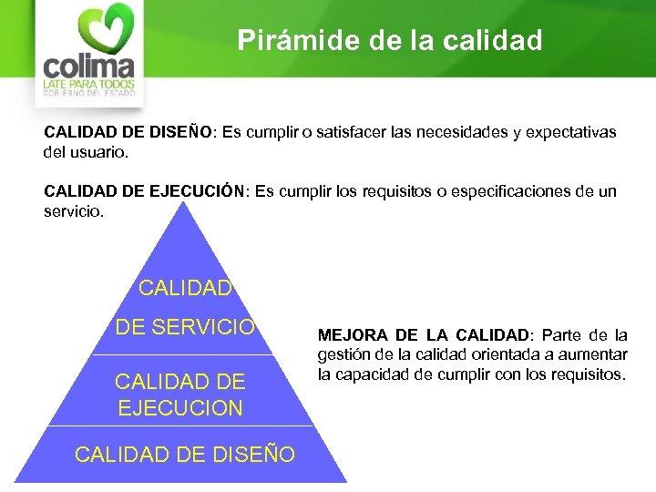 Pirámide de la calidad CALIDAD DE DISEÑO: Es cumplir o satisfacer las necesidades y