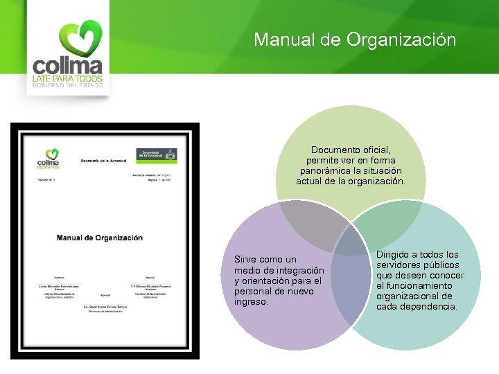 Manual de Organización Documento oficial, permite ver en forma panorámica la situación actual de