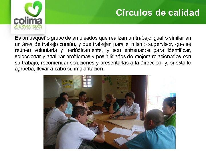 Círculos de calidad Es un pequeño grupo de empleados que realizan un trabajo igual