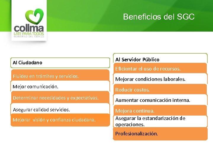 Beneficios del SGC Al Ciudadano Fluidez en trámites y servicios. Mejor comunicación. Al Servidor