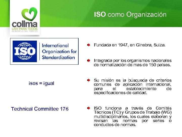ISO como Organización Fundada en 1947, en Ginebra, Suiza. Integrada por los organismos nacionales