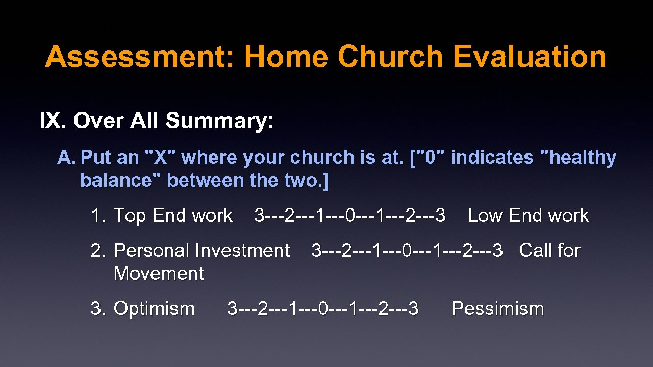 Assessment: Home Church Evaluation IX. Over All Summary: A. Put an