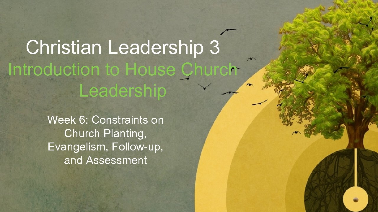 Christian Leadership 3 Introduction to House Church Leadership Week 6: Constraints on Church Planting,