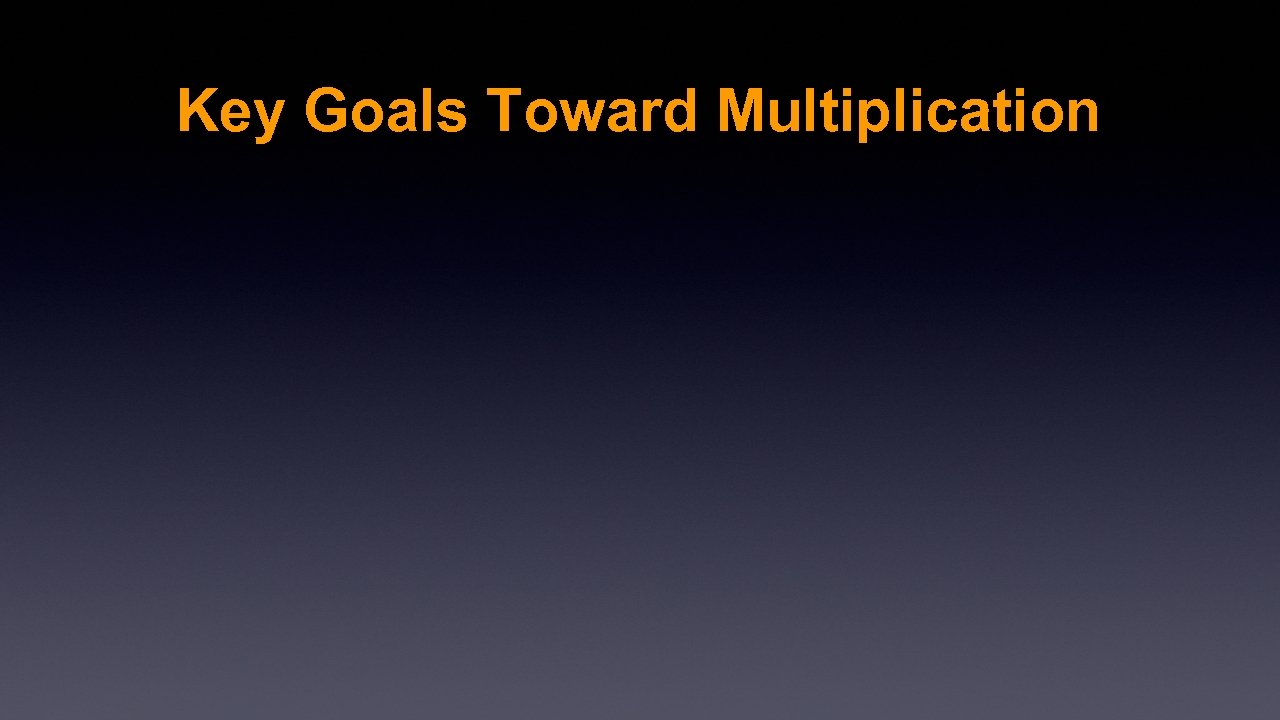 Key Goals Toward Multiplication