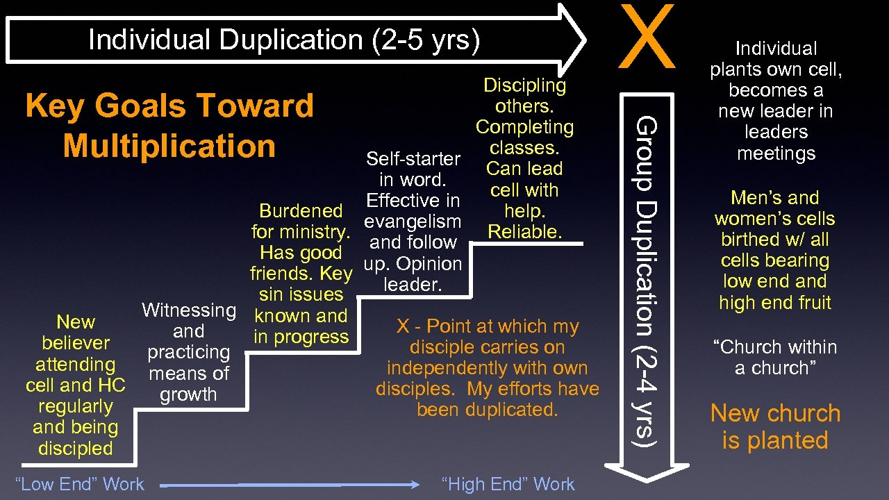 "Individual Duplication (2 -5 yrs) Key Goals Toward Multiplication ""Low End"" Work ""High End"""