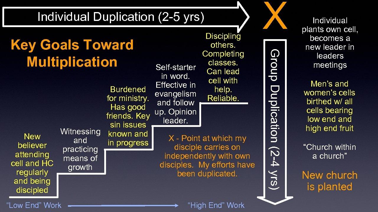 "Individual Duplication (2 -5 yrs) Key Goals Toward Multiplication ""Low End"" Work ""High End"""