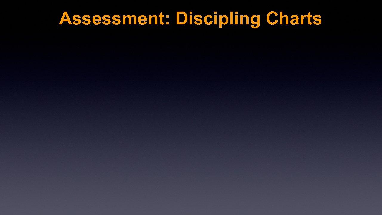 Assessment: Discipling Charts