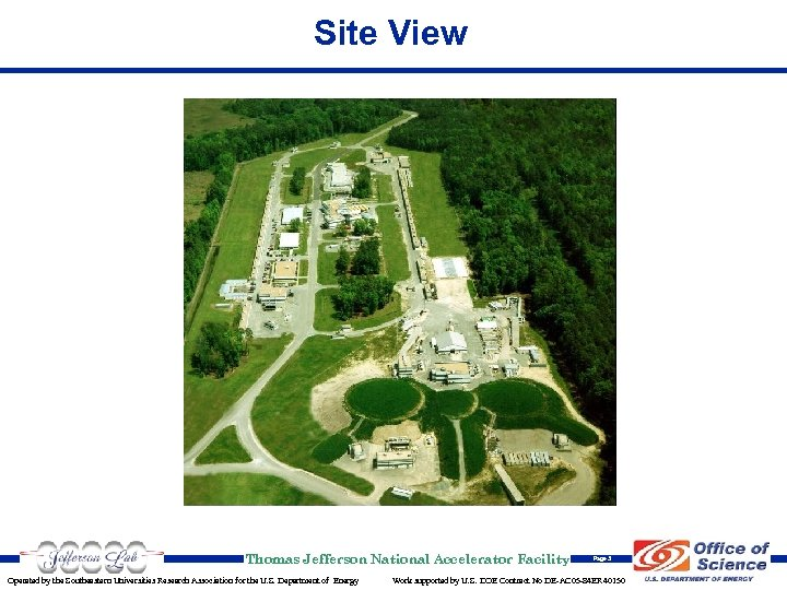 Site View Thomas Jefferson National Accelerator Facility Operated by the Southeastern Universities Research Association