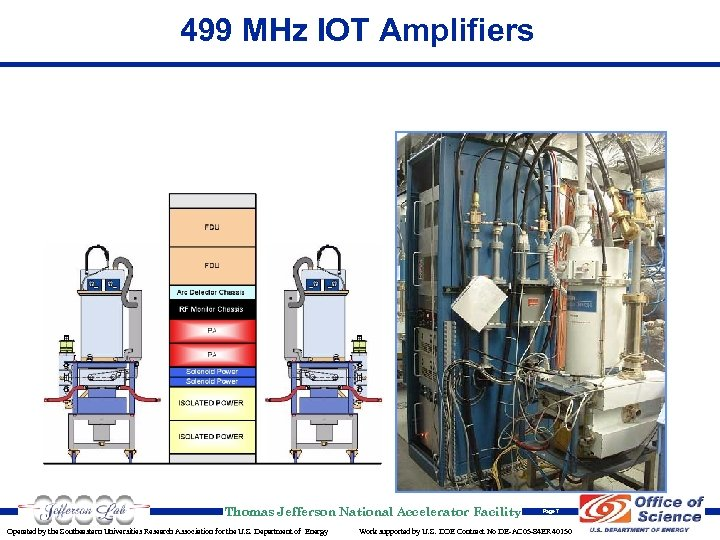 499 MHz IOT Amplifiers Thomas Jefferson National Accelerator Facility Operated by the Southeastern Universities