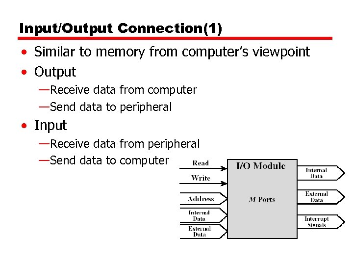 Input/Output Connection(1) • Similar to memory from computer's viewpoint • Output —Receive data from