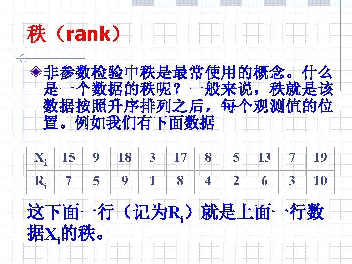 秩(rank) 非参数检验中秩是最常使用的概念。什么 是一个数据的秩呢?一般来说,秩就是该 数据按照升序排列之后,每个观测值的位 置。例如我们有下面数据 Xi 15 9 18 3 17 8 5 13