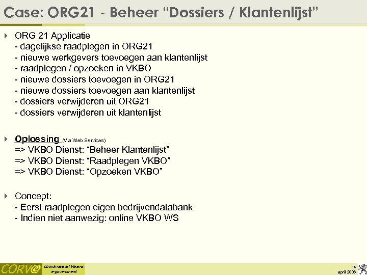 """Case: ORG 21 - Beheer """"Dossiers / Klantenlijst"""" 4 ORG 21 Applicatie - dagelijkse"""