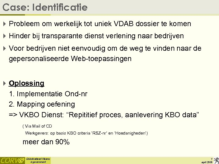 Case: Identificatie 4 Probleem om werkelijk tot uniek VDAB dossier te komen 4 Hinder