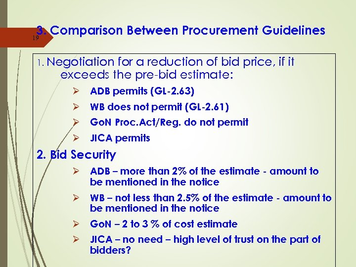 3. Comparison Between Procurement Guidelines 19 1. Negotiation for a reduction of bid price,