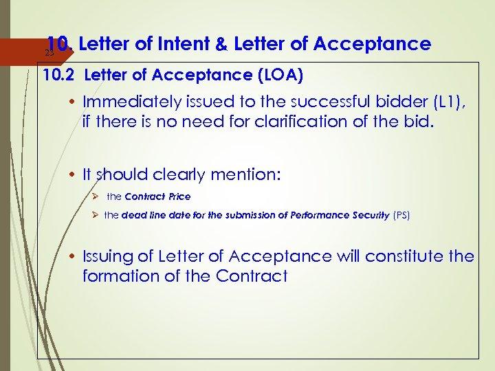 10. Letter of Intent & Letter of Acceptance 23 10. 2 Letter of Acceptance