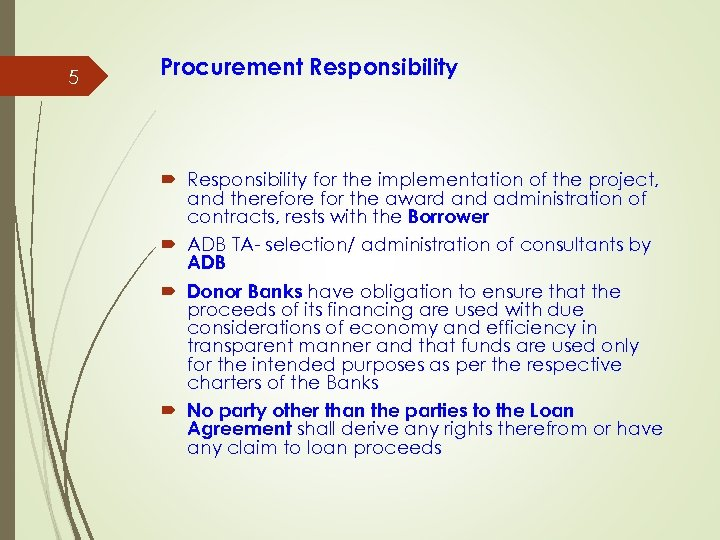 5 Procurement Responsibility for the implementation of the project, and therefore for the award