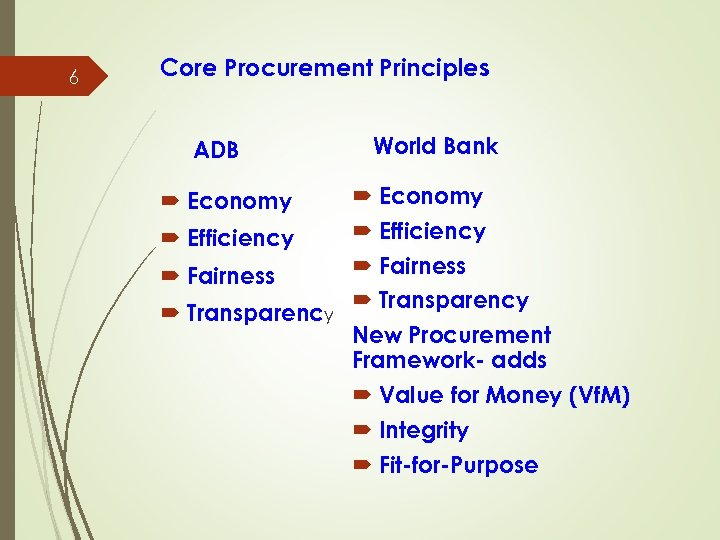 6 Core Procurement Principles ADB Economy Efficiency Fairness Transparency World Bank Economy Efficiency Fairness