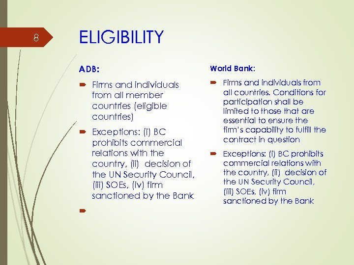 8 ELIGIBILITY ADB: World Bank: Firms and individuals from all member countries (eligible countries)