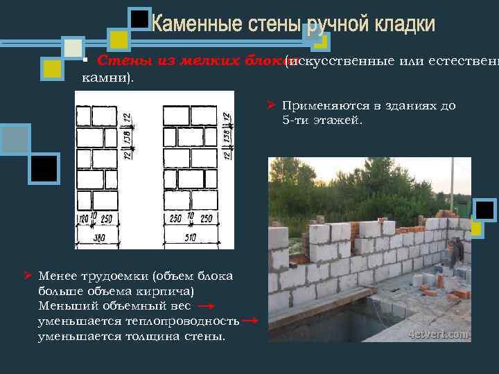 § Стены из мелких блоков (искусственные или естественн камни). Ø Применяются в зданиях до