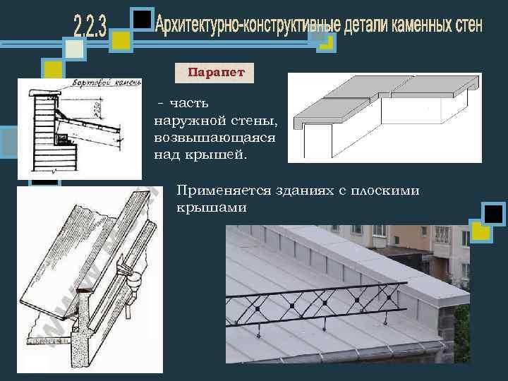 Парапет - часть наружной стены, возвышающаяся над крышей. Применяется зданиях с плоскими крышами