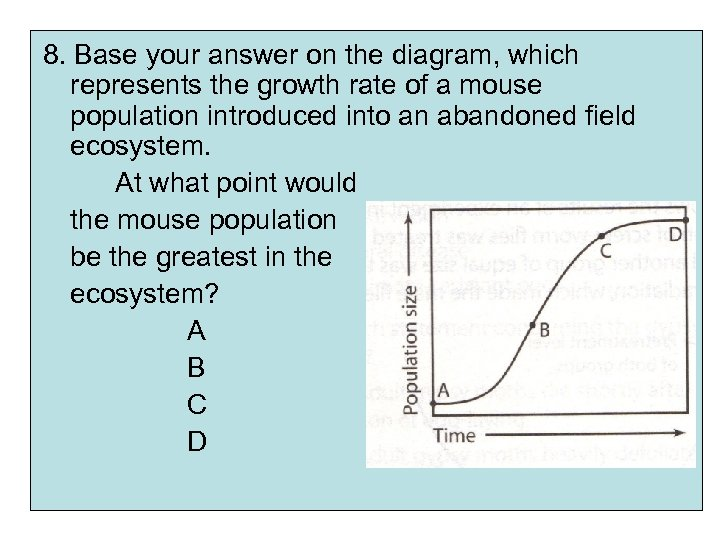 8. Base your answer on the diagram, which represents the growth rate of a