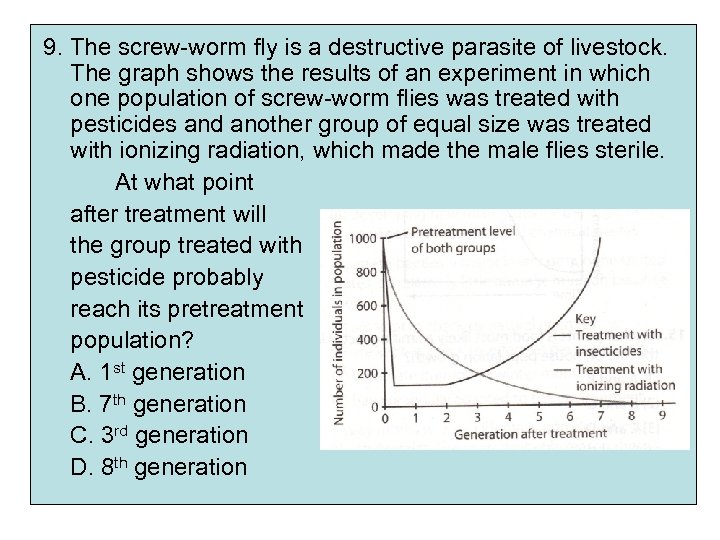 9. The screw-worm fly is a destructive parasite of livestock. The graph shows the