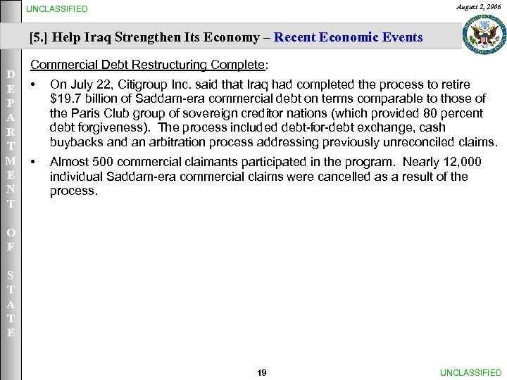 August 2, 2006 UNCLASSIFIED [5. ] Help Iraq Strengthen Its Economy – Recent Economic