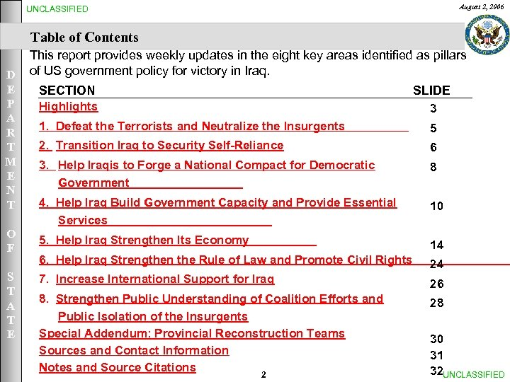 August 2, 2006 UNCLASSIFIED Table of Contents This report provides weekly updates in the