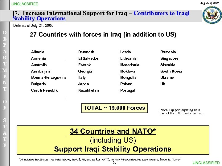 August 2, 2006 UNCLASSIFIED [7. ] Increase International Support for Iraq – Contributors to