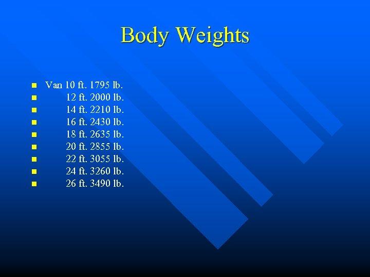 Body Weights n n n n n Van 10 ft. 1795 lb. 12 ft.